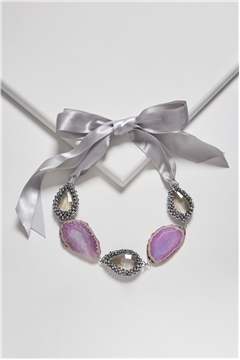 Love Shine Agate Crystal Tie Up Bib Necklace
