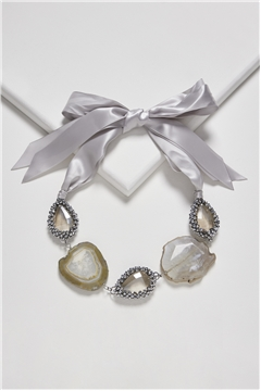 Party On The Coast Agate Crystal Tie Up Bib Necklace
