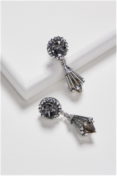 Black Spade Crystal Cone Drop Earrings