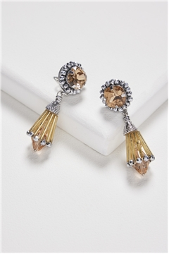 Gold Spade Crystal Cone Drop Earrings