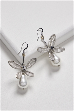 Gleaming My Way Floral Pearl Drop Earrings