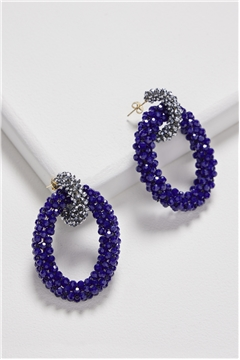 Classic Midnight Blue Silver Crystal Double Hoop Earrings