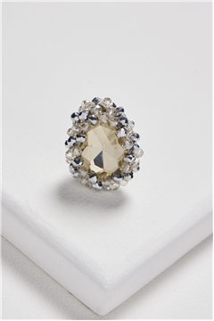 Charms of The Night Champagne Crystal Statement Ring