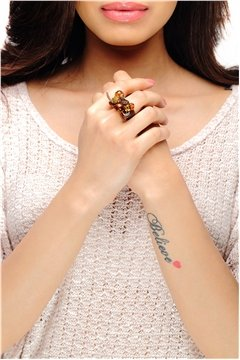 Brown Beads Adjustable Ring