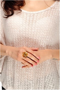 Orange Gold Beads Ring