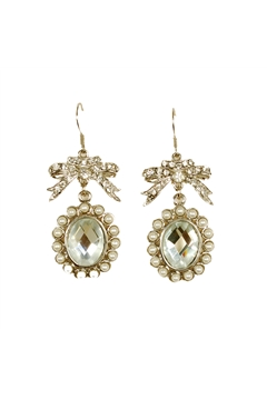 Victorian Drop Pearl Studded Crystal Bow Earrings