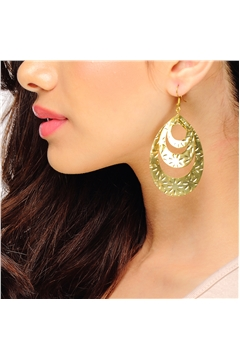 Three Layer Gold Drop Earrings