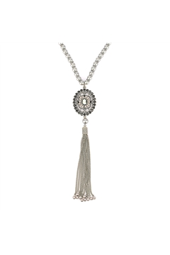 Grey Cameo Pendant Pearl Tassel Necklace
