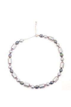 Multi Barrel Grey Pearl Necklace