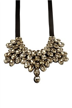 Live Your Fantasy Gold Crystal Statement Bib Necklace