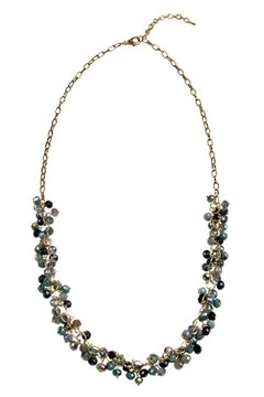 The Shimmy Blue Tone Glass Beads Long Necklace