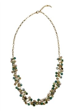 The Charleston Green Tone Glass Bead Long Necklace