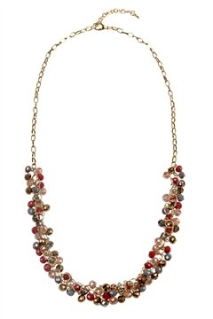 Prohibition Era Red Tone Glass Beads Long Necklace
