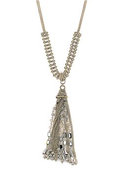 Desmonda Grey Glass Beads Tassel Pendant Necklace
