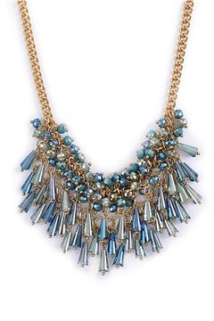 Midnight In Paris Blue Crystal Drops Bib Necklace