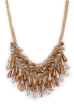 Gatsby Champagne Crystal Drops Bib Necklace