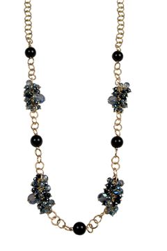 Starry Eyes Black Pearl Gold Link Long Necklace