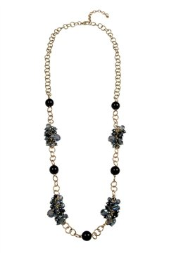 Black & Blue Pearls Cluster Necklace