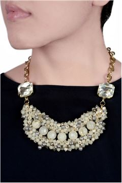 The Enraptured Ivory Glass Bead Bib Necklace