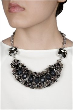 Black Beads Crystal Necklace