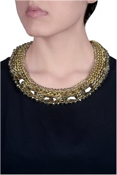 Oversized Crystal Necklace with gold-silver links