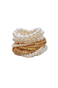 Set Of 16 Chunky Gold And Pearl