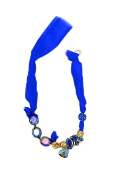 Blue Satin Tie Up Necklace