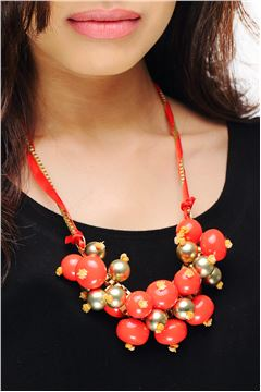 Red Matt Gold Bead and Bauble Chunky Necklace