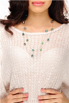 Green & Blue Beaded Chain Necklace