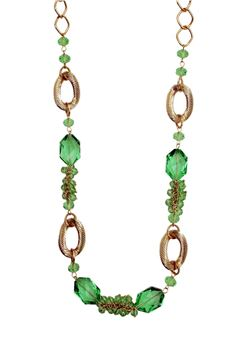 Green Apple Glass Bead Briolette Long Necklace