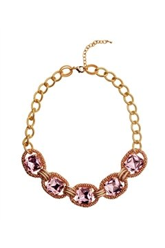 Blush Empress Pink Square Crystals Necklace