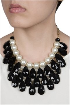 Showstopper Night Out Black Pearl Crystal Drop Statement Necklace