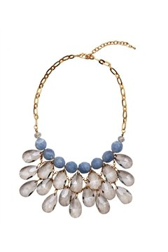 Blue Pearl Crystal Drop Necklace