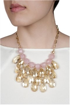 Pink Pearl Crystal Drop Necklace