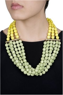 Shades of Yellow & Green Beaded Necklace