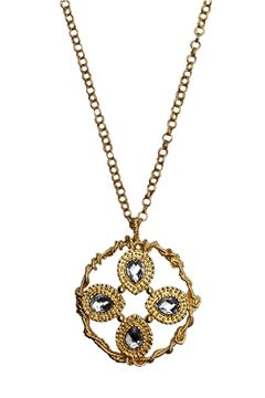 Gold Wreath Oversized Metal Pendant Necklace