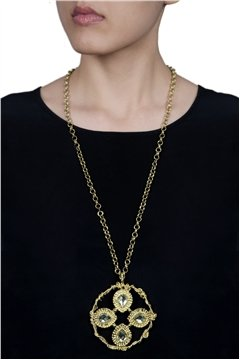 Stylish Golden Stone Necklace