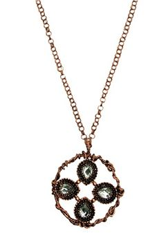 Rose Gold Wreath Oversized Metal Pendant Necklace