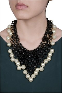 Black Necklace with White Pearl Drops