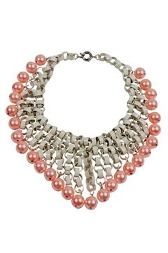 White Necklace with Peach Pearls