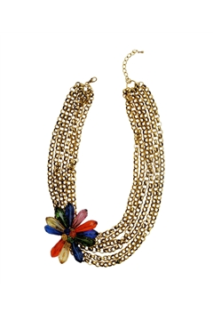 Gold Link Chains with a Flower Necklace