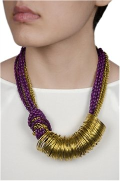 Spinning Around Violet Resin Beads Gold Ring Necklace