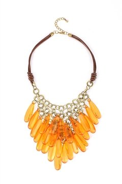 Flaming Orange Cracked Glass Bead Effect Chandelier Necklace