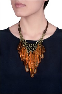 Orange Plastic Beads Necklace with Golden Links