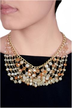Sunkissed Layered Glass Beads Champagne Necklace