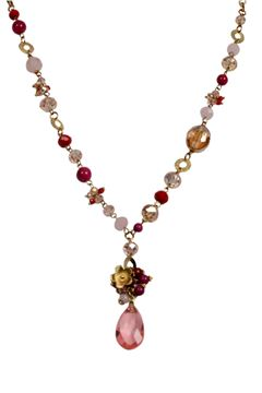 Rose Drop Crystal Pendant Necklace