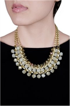 Spunky White Crystal Drops Gold Necklace