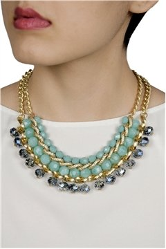 Necklace with Aqua Beads on Gold chains