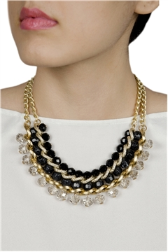 Best In Black Crystal Drops Gold Necklace