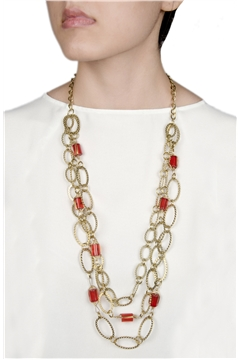 Became Mucho Gold Chain Red Stone Layered Necklace